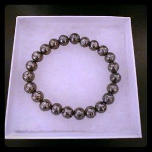 Gunmetal Lava Rock Stone Bracelet